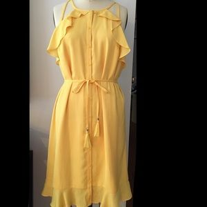 Nicole by Nicole Miller Yellow flounce dress